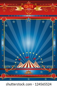 fantastic blue circus. a circus blue poster for your advertising.