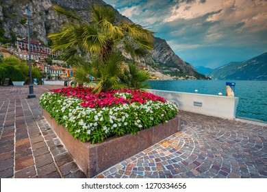 Fantastic boardwalk decorated with colorful mediterranean flowers and palm trees, Limone sul Garda, Lombardy, Italy, Europe