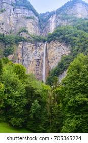 Fantastic cascade waterfall Seerenbachfälle near Betlis on the Walensee. Switzerland. Europe.