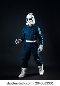 A fantastic character, an astronaut or a stormtrooper. man in overalls and a helmet