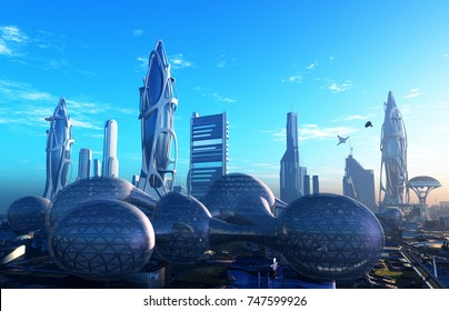 A fantastic city from the future.t.3d render