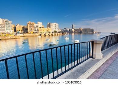 Fantastic city landscape on the seaside with boats. Sliema. Malta, Europe