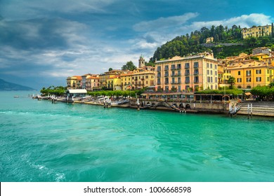 Fantastic cityscape with colorful luxury buildings and harbor, Bellagio, lake Como, Lombardy region, Italy, Europe
