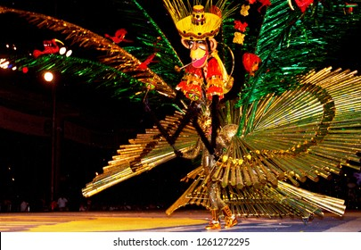 Fantastic costumes at the parade along with hot Calypso-sound at the Carnival in Port of Spain on the caribbean island Trinidad