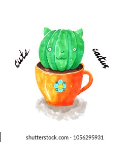 Fantastic creation. Cute green cactus monster. Drawing.