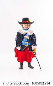 Fantastic disguise as a child musketeer for carnival