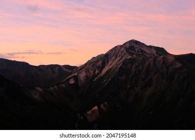Fantastic evening panorama of North Alps, Japan.