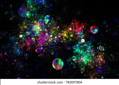 Fantastic explosion. Abstract textured rainbow drops on black background. Digital fractal art. 3D rendering.