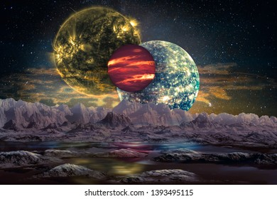 Fantastic extraterrestrial world landscape. Mountain planet surface with water and three alien moons above the cloudy atmosphere. Elements of this image furnished by NASA.