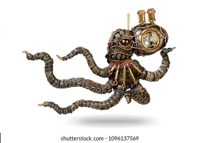 a fantastic figure of an octopus from polymeric clay in the style of steampunk