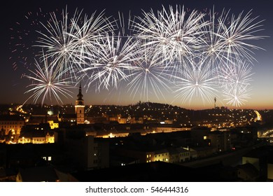 Fantastic fireworks above skyline of the city