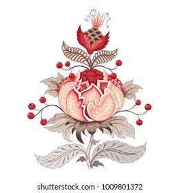 Fantastic flower with leaves, tendrils and berries. Motives of vintage Indian fabrics. Tree of Life collection. Element for ornament.