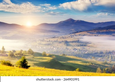 Fantastic foggy day and bright hills by sunlight. Dramatic morning scenery. Carpathian, Ukraine, Europe. Beauty world.