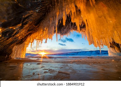 Fantastic ice formations in the grotto of Lake Baikal in winter