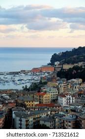 Fantastic Italian village by coastline, near Genoa, Italy