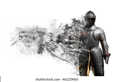 Fantastic knight armor with smoke shape