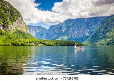 Fantastic landscape of Hallstatt lake, Austrian Alps,  Salzkammergut, Austria, Europe