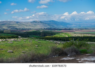 Fantastic landscape view of the Golan Heights (Ramat Ha-Golan) with mountains, hills and agriculture fields. Syrian border