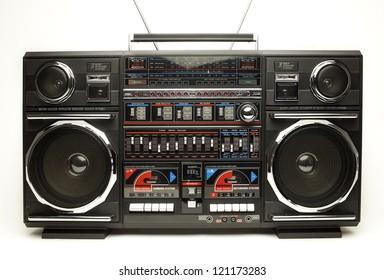 a fantastic looking oversized black retro ghetto blaster radio