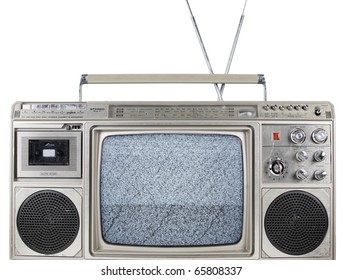 a fantastic looking retro ghetto blaster with built in television