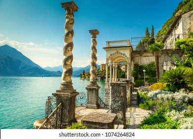 Fantastic luxury villa Monastero, stunning ornamental botanical garden, decorated with colorful mediterranean flowers, lake Como, Varenna, Lombardy region, Italy, Europe
