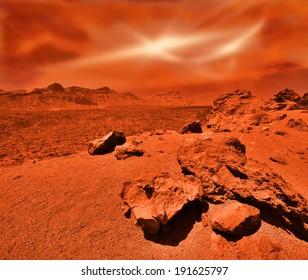 Fantastic martian landscape in rusty orange shades