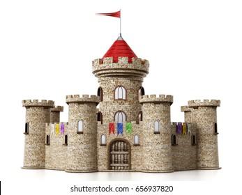 Fantastic medieval castle under dramatic blue sky. 3D illustration