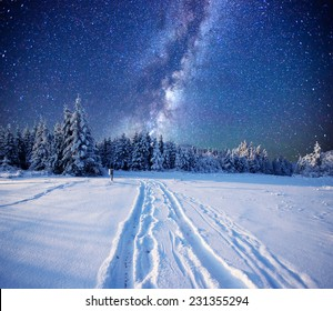 fantastic milky way in the New Year's Eve