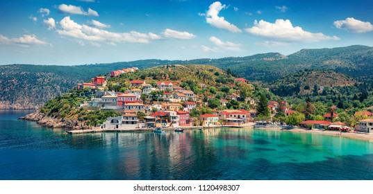 Fantastic morning cityscape of Asos village on the west coast of the island of Cephalonia, Greece, Europe. Wonderful spring sescape of Ionian Sea. Traveling concept background.