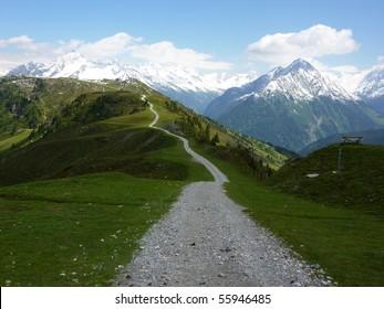 Fantastic mountain bike trail in the Alps