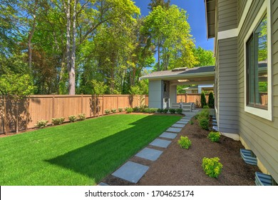 Fantastic new backyard with fresh landscape, fully fenced, with back porch, and large birch trees, steps and mulch.