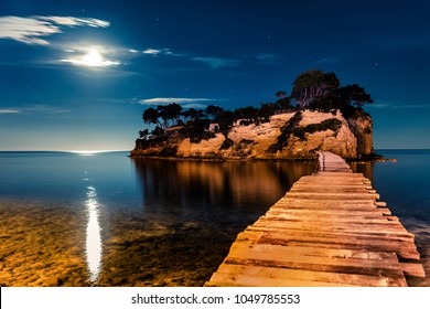 Fantastic night view of the Cameo Island. Great spring scene on the Port Sostis, Zakynthos island, Greece, Europe. Beauty of nature concept background.