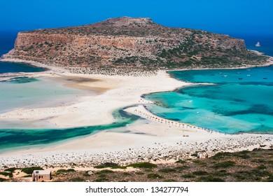 Fantastic panorama of Balos Lagoon and Gramvousa island on Crete, Greece. Cap tigani in the center
