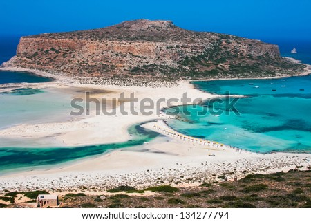 Fantastic panorama of Balos Lagoon and Gramvousa island on Crete, Greece. Cap tigani in the center