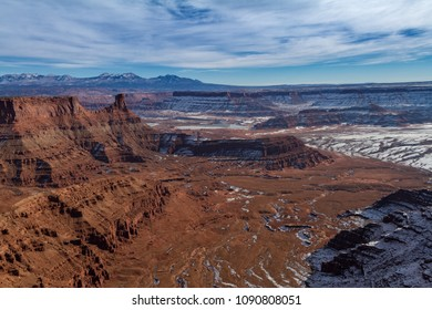 Fantastic panoramic view of Dead Horse Point State Park in the winter with snow in Utah, USA.