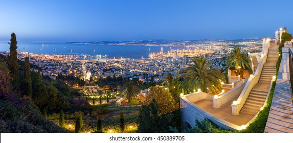 Fantastic panoramic view of Mediterranean coast in the evening. Haifa bay. Travel in Israel.