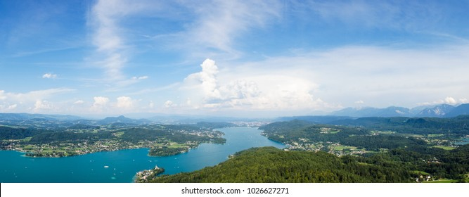 Fantastic panoramic view over The Lake Faak / Carinthia / Austria. Beautiful aerial view over lake and mountains, Austria summer nature outdoor landscape.