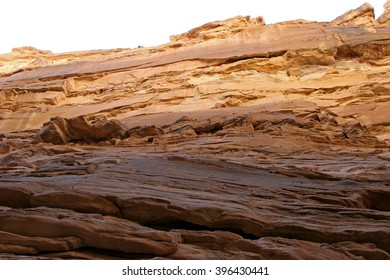Fantastic patterns and traces of geological events on the walls colored canyon in Egypt.