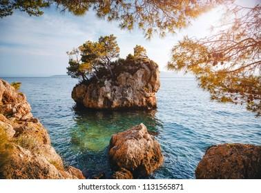 Fantastic place of the calm Adriatic Sea. Location Makarska riviera, Croatia, Dalmatia region, Balkans, Europe. Scenic image of most popular european travel destination. Discover the beauty of earth.