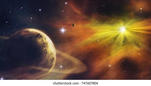 Fantastic planet. Artistic visualization. Space. A stars, planets, nebulas.