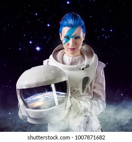 Fantastic portrait of an astronaut in space. . Elements of this image furnished by NASA.