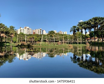 Fantastic reflections in the lake at the zoo in Goiania, Goias, Brazil
