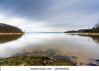 Fantastic scene on Omerli Dam Lake. Omerli Dam (Turkish: Ömerli Barajı) is a rock-fill dam in Istanbul Province. This lake is very close to Istanbul and has spectacular nature views.