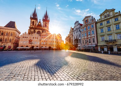 Fantastic scene of the Tyn Church (Tynsky chram) in sunlight. Popular tourist attraction. Location famous place (unesco heritage) old town square on Prague, Czech Republic, Europe. Beauty world. - Shutterstock ID 679328992