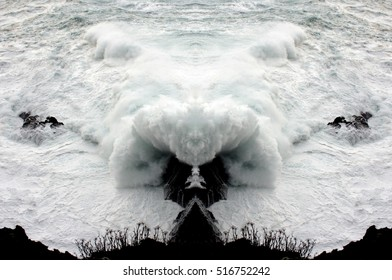 Fantastic sea foam animals,metaphor of a problem, conflict,  contrariety, alternative, enigma, inconvenience,fears of the subconscious,geometric composition of Wave crashing,  Sea monsters,