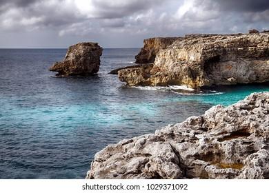 Fantastic snorkel zone in Cala Galdana, in the south coast of the Mediterranean island of Menorca in Spain.