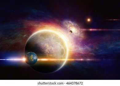 Fantastic space background - aliens planet system in deep space, glowing mysterious  spiral galaxy. Elements of this image furnished by NASA