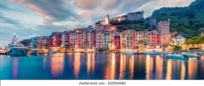 Fantastic spring panorama of Portovenere town. Splendid evening scene of Mediterranean sea,  Liguria, province of La Spezia, Italy, Europe. Traveling concept background.