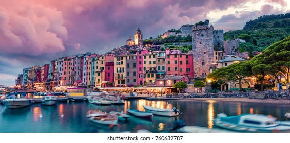 Fantastic spring scene of Portovenere town. Picturesque evening sunset of Mediterranean sea,  Liguria, province of La Spezia, Italy, Europe. Traveling concept background.