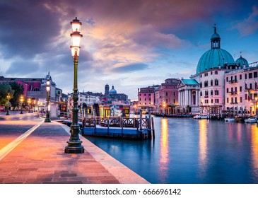 Fantastic spring sunrise in Venice with San Simeone Piccolo church. Colorful evening scene in Italy, Europe. Magnificent Mediterranean landscape. Traveling concept background.